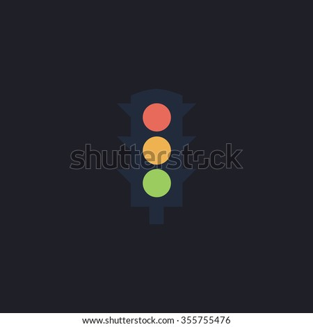 Simple Traffic light. Color flat icon on black background