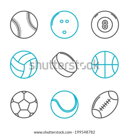 Simple trendy sport icons set (baseball, bowling, billiard, volleyball, hockey, basketball, soccer, tennis, american football). Raster copy - stock photo