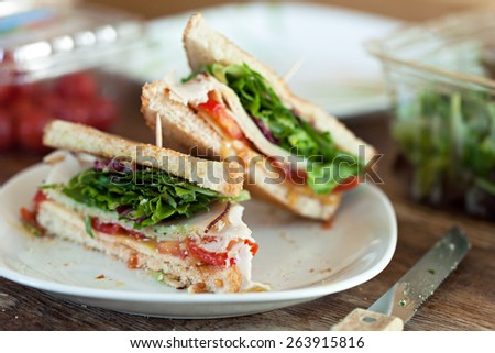 Simple turkey sandwich on honey wheat bread with lettuce and tomato. - stock photo