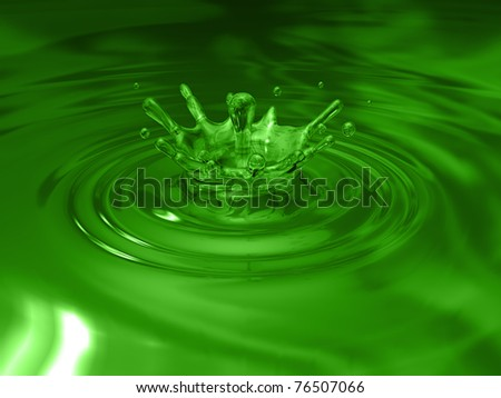 Simple water splash in mid splash. Green color - stock photo