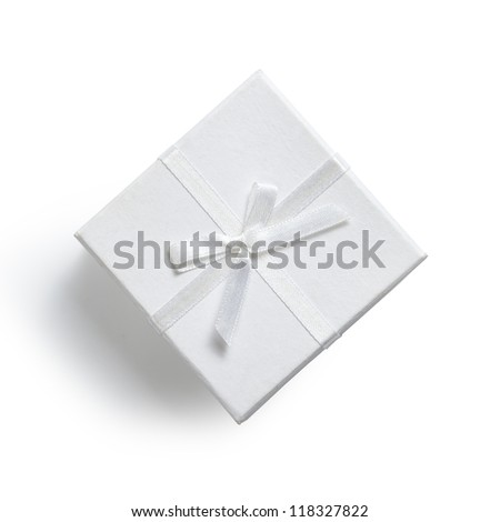 simple white gift box isolated on white - stock photo