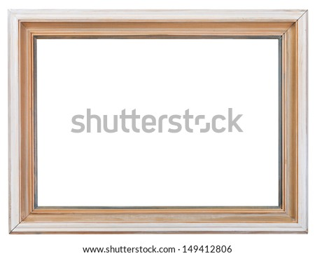 simple white pained old wooden picture frame with cutout canvas isolated on white background
