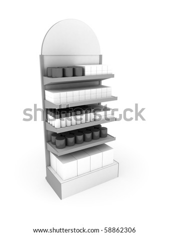 Simple White Stand With Goods - stock photo