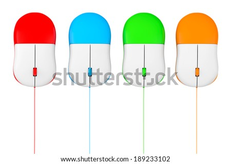 Simple wired computer mouses set on a white background - stock photo