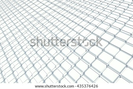 Simple wired fence pattern. 3D Illustration. - stock photo