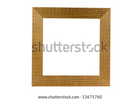 simple wood frame isolated on white , Clipping path - stock photo