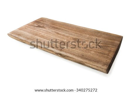 simple wooden cutting board isolated on white background - stock photo