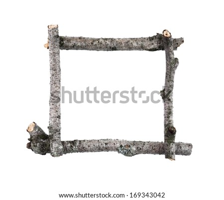 Simple Wooden Sticks Frame Isolated On Stock Photo (Royalty Free ...