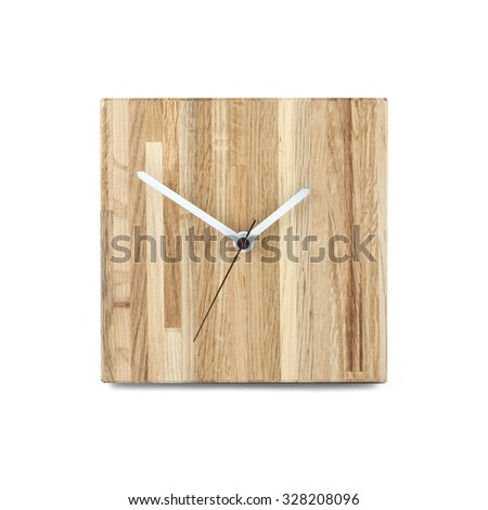 Simple wooden wall watch - Square clock isolated on white background - stock photo