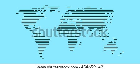 Simple World map made of black stripes on light blue background