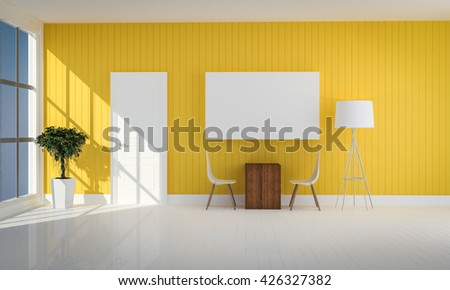 simple yellow color  living room with white door 3d rendering - stock photo