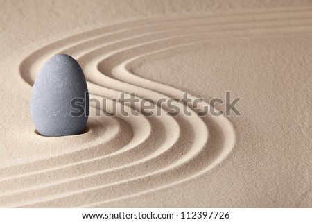 simplicity and serenity in Japanese zen garden concept for balance and concentration - stock photo