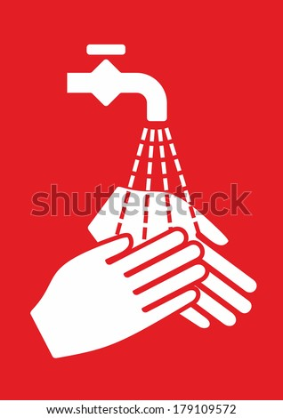 simplified sign for hygiene and hand disinfection - stock photo