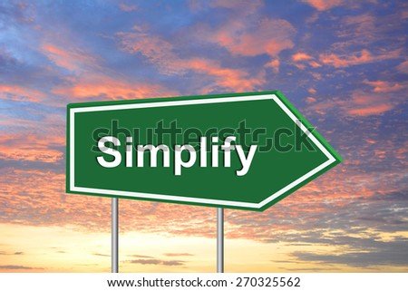 Simplify road sign green - stock photo