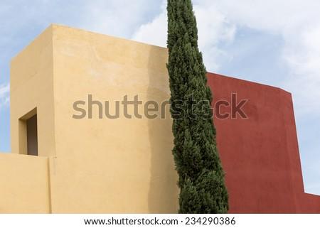 simplistic architectural design in San Miguel de Allende Mexico - stock photo
