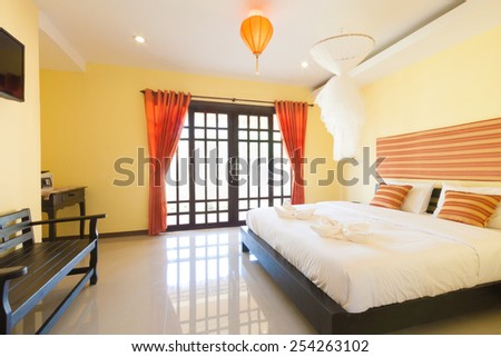 simply contemporary bedroom at Banana Garden Beach, Koh lanta, Krabi, Thailand. - stock photo