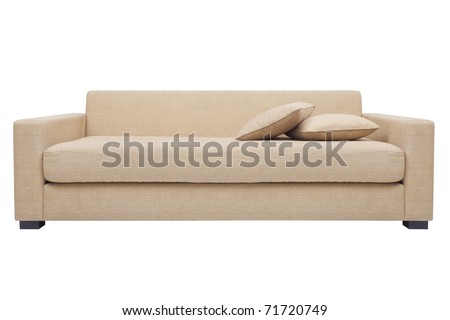 simply modern beige couch with pillows isolated white - stock photo