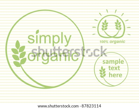 Simply organic vector label, logo or sticker for products in green - 3 varieties