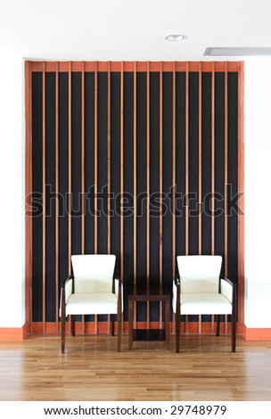 Simply wooden chairs set in a resting place. I have many interior furniture and room scene photos in my portfolio.