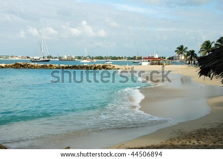 Simpson Bay tropical beach in St Maarten - stock photo