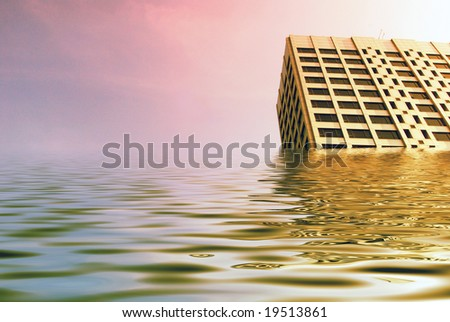 Simulated flood waters engulf tower blocks in city center.
