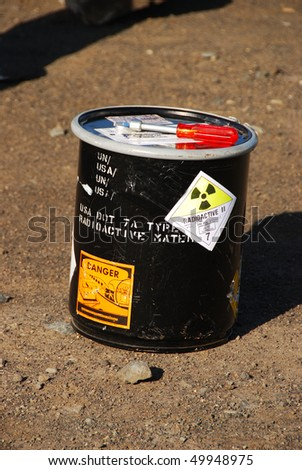 Simulated Train and Tank Truck accident with a WMD component - including a pipe bomb on the tank truck, radiological components. - stock photo