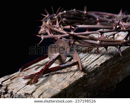 Simulation of the nails of Jesus Christ and the crown of thorns - stock photo