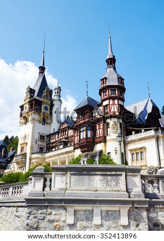 SINAI, ROMANIA, 17.08.2012: Sinaia, Romania. Peles Castle, romanian kings summer residence in Carpathian Mountains.