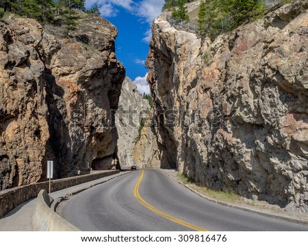 Sinclair Canyon outside the village or Radium Hot Springs. Sinclair Canyon is the main pass through the Rocky Mountains in Kootenay National Park.  - stock photo