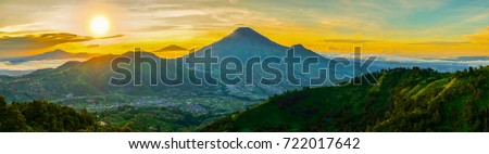 sindoro mount ponoramic view from sikunir hill during sunrise