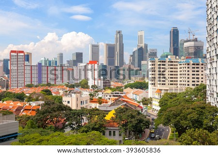 Singapore apartment housing with Central Business District city view daytime - stock photo