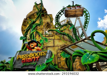 SINGAPORE - APRIL 18, 2015:  Beautiful Puss in Boots Giant Journey roller coaster ride at Universal Studios. Universal Studios Singapore is theme park located within Resorts World Sentosa, Singapore. - stock photo