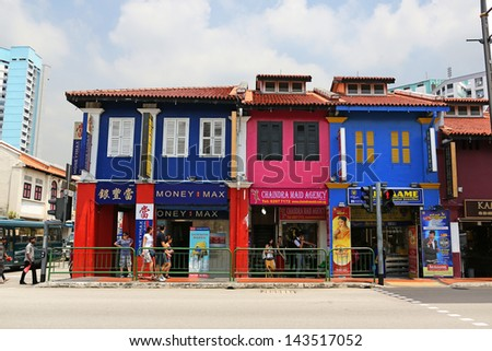 SINGAPORE - APRIL 5: Little India district on Apr 5, 2013 in Singapore. Now Singapore has the world's highest percentage of millionaires, with one out of every 6 households having at least $1000000 US - stock photo