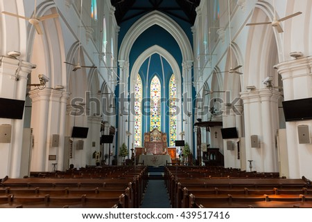 SINGAPORE - April 10, 2016 : Saint Andrew Cathedral is an Anglican cathedral in Singapore. - stock photo