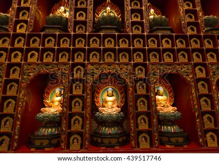 singapore - April 10th, 2016: interior of the Buddha Tooth Relic Temple, Singapore. - stock photo