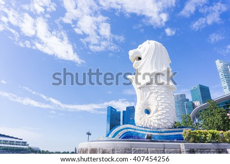 SINGAPORE-April 16, 2016: The Merlion park in Singapore. Merlion statue is a famous place as a symbol of Singapore. - stock photo