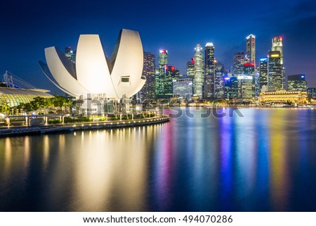 Singapore - 2016: ArtScience Museum in Marina Bay Sands is located along the Marina Bay waterfront in the heart of Singapore.