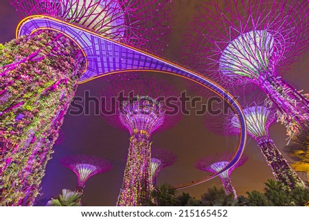 Garden By The Bay Mrt singaporejun 16 night view supertree grove stock photo 145953788