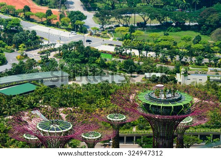 SINGAPORE - 07 AUG 2015: Overlooking view of Supertrees Grove at Gardens by the Bay in Singapore - stock photo