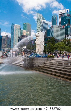 SINGAPORE-Aug 15, 2016: The Merlion fountain in Singapore. Merlion is a imaginary creature with the head of a lion,seen as a symbol of Singapore