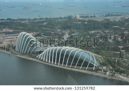 singapore august 15 an aerial view of cloud forest flower dome at