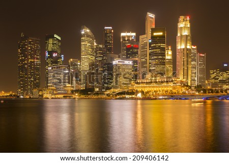 SINGAPORE - AUGUST 5_Business buildings shining beams of light at night time around Marina Bay on August 5, 2014 in Singapore