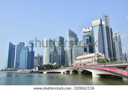 SINGAPORE - AUGUST 29 : Financial Buildings at Singapore's Downtown on August 29, 2015 in Singapore.