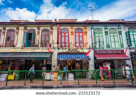 SINGAPORE - AUGUST 11: Little India district on August 11, 2014 in Singapore. Now Singapore has the world's highest percentage of millionaires - stock photo