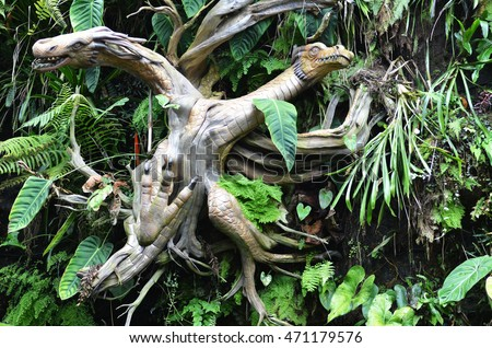 singapore august 14 2016 sculpture inside the cloud forest in garden by the