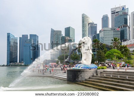 Singapore - August 20: The main symbol of Singapore - Merlion, a mythical being with the head of a lion and a trunk of fish on August 20, 2014  in Singapore.