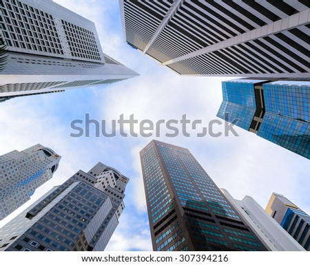 Singapore business buildings rising into the skies - stock photo