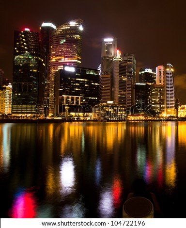 Singapore business district in the night time
