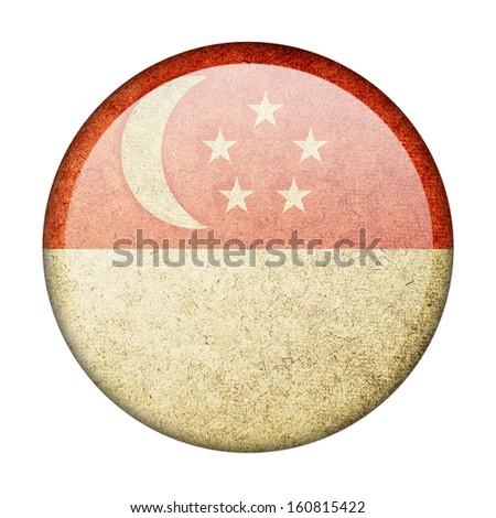 Singapore button flag - stock photo