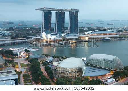 Singapore by evening - stock photo